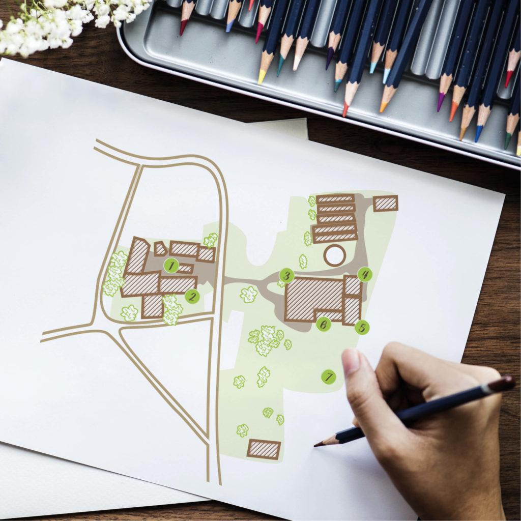 Zeichnung vom Grundriss des Gerstenhofladen