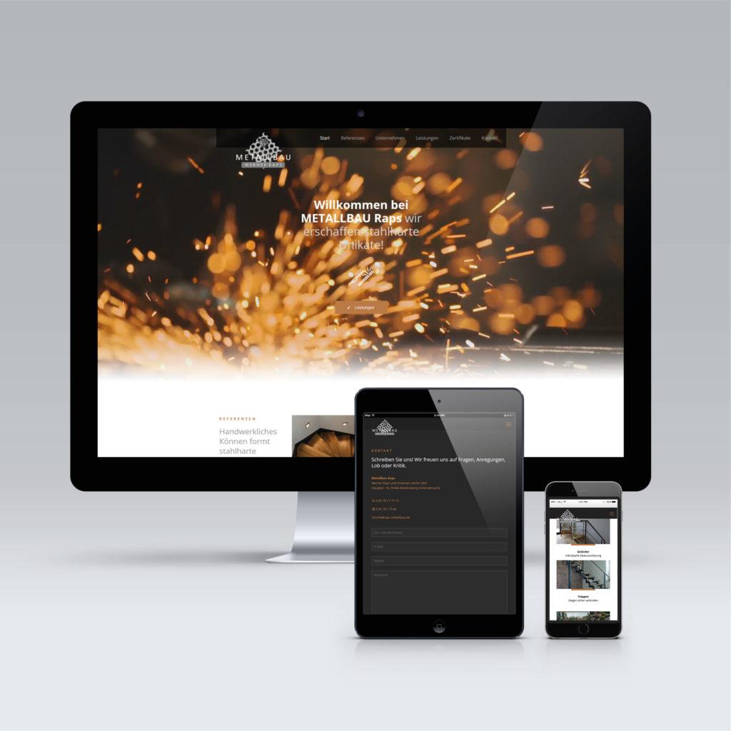 Responsive Ansicht auf Desktop, Tablet und Handy von Metallbau Raps Lehner
